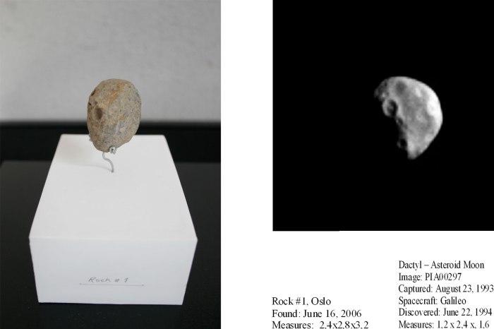 Asteroide -og Månesteiner. Detalj av stein #3 og Asteroidemånen Dactyl