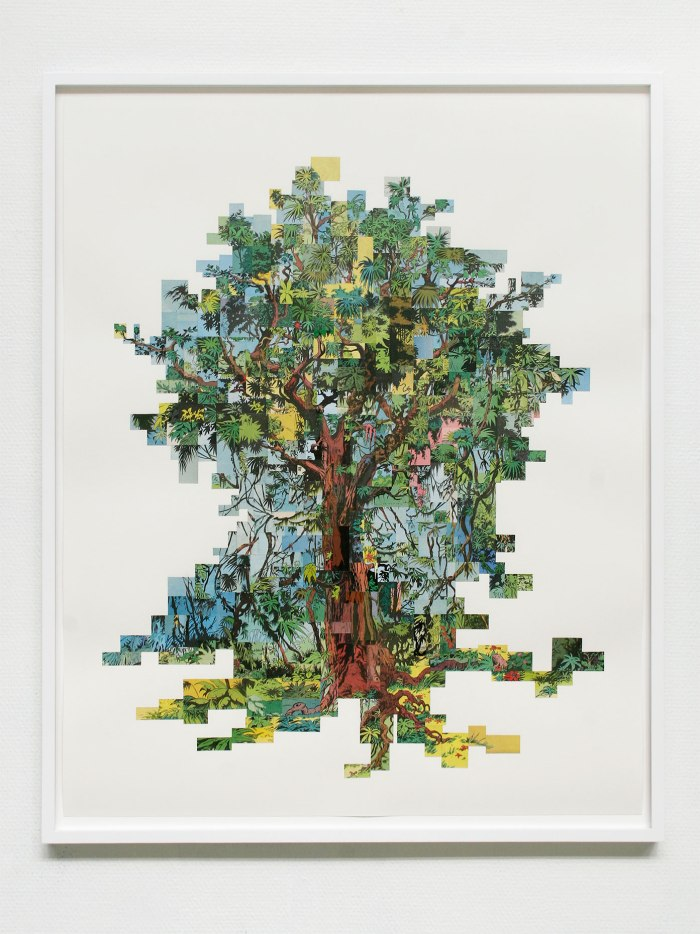 """Flokete Tre / Tangeled Tree"". 2010, collage, 92×74"